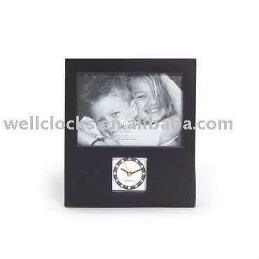 Black Photo frame antique table clock