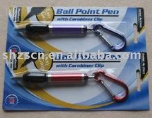 Handy mini metal ball pen with alumium carabiner clip/High quality ball pen