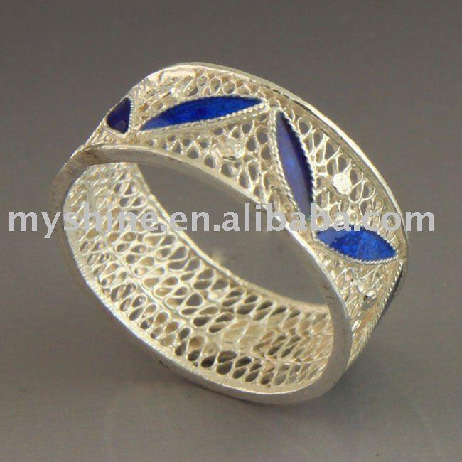 de filigrana myshine técnica de esmalte de joyería de plata anillo