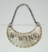 Custom metal wine bottle hang tag