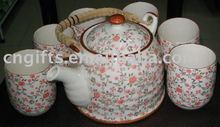 Hot sell porcelain tea pot set ceramic gift with various patterns