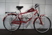 "26"" red steel frame moto gas beach cruiser bike"