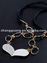 Fashion copper alloy CZ diamond heart necklace