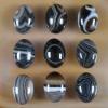 C210 Black Onyx Agate Puffy Oval Cabochon semi-precious gem