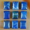 C221 Blue Onyx Agate Puffy Rectangle Cabochon semi-precious gemstone