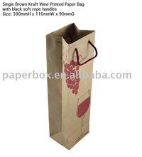 brown kraft wine bottle bag