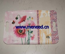 "16"" melamine handle tray with flower design"