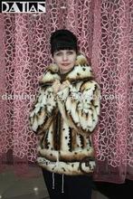 Mink fur coat with leopard pot/zipper/large neck