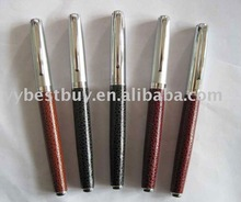 Leather roller pen twin metal pen set