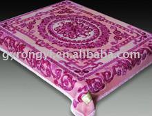 100% polyester 2ply printed raschel fleece blanket