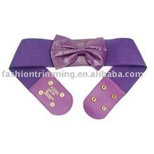 Fancy Bowknot Purple Lady Elastic Stretch Belt #BLT4559