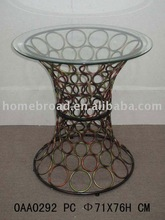 metal & glass round table