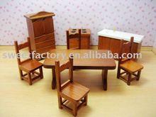 Dolls Dinning-room set wooden toys mini furniture