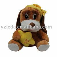 wearing yellow cap plush dog toys dog toy