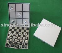 Magnetic backgammon chess in aluminum box