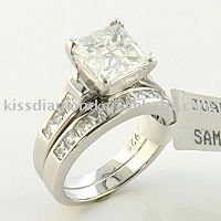 Double Band Square CZ Wedding Ring