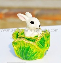 Fashion Metal Alloy Pewter Swaroski Rhinstone Crystal Enamel Cabbage Rabbit Trinket Jewelry Decorative Box ZBH10002