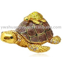 Fashion Metal Alloy Pewter Swaroski Rhinstone Crystal Enamel Turtle(Tortoise) Trinket Jewelry Decorative Box ZBH10009