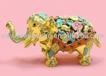 Fashion Metal Alloy Pewter Swaroski Rhinstone Crystal Enamel Elephant Trinket Jewelry Decorative Box ZBH10030