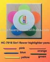 novelty 5in1 flower highlighter pens for promotional