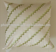 faux silk zigzag embroidery cushion