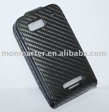 Mobilephone case Carbon Fiber leather case for Moto ME525 (Defy)