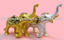 Fashion Metal Alloy Pewter Swaroski Rhinstone Crystal Enamel Elephant Trinket Jewelry Box ZBH10219