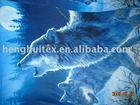 wolf printed polar fleece fabric
