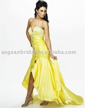 Style E041 2012 sexy strapless yellow satin designer beaded evening gowns