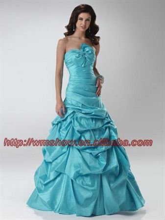 Newest Design Bowknot Strapless Taffeta Ruffle Ball Gown Ice Blue Wedding