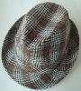 elegant plaid fedora hat/jazz hat/short brim hat/bucket hat