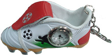 mini soccer shoes keychain with clock