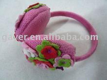 Colorful flower girls knitted earmuff