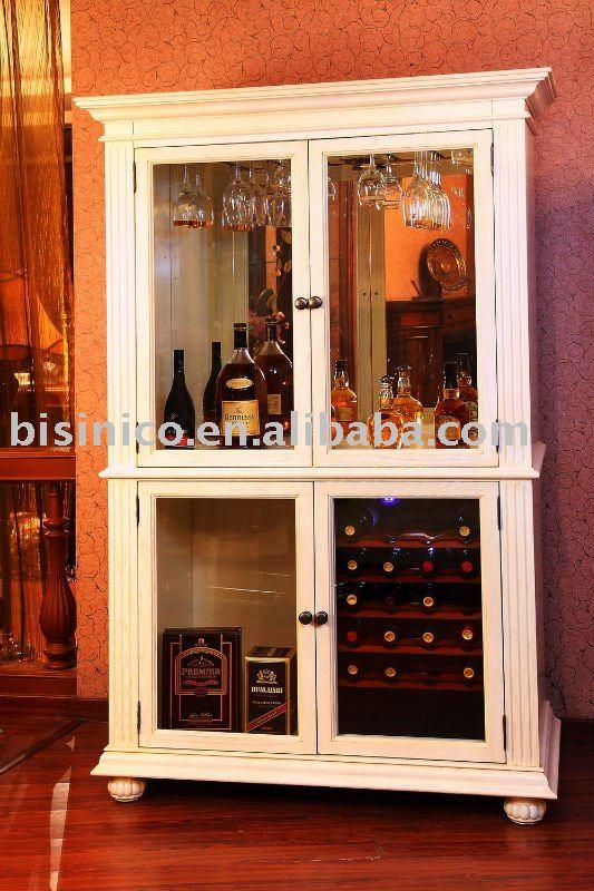 Luxe salon armoire vin bois massif meubles de salon for Armoire de salon en bois