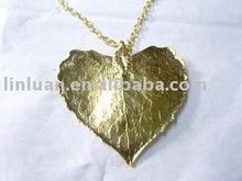 high quality natural leaf necklace heart