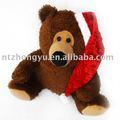 Brown chillona oso de peluche con sombrero, mascotas de juguete para el perro