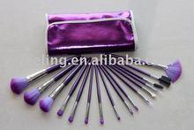 Hot Sale! 16pcs Super Nylon Hair Brushes Set Cosmetic Brush & Purple Bag