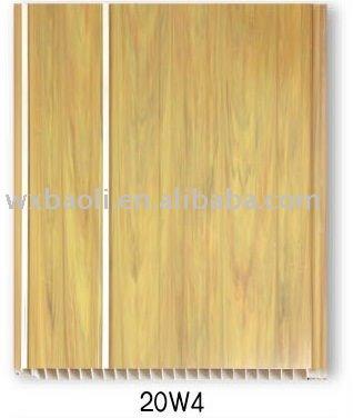 panneau de plafond de PVC de conception en bois avec la cannelure du côté