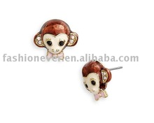 Critters Bright Monkey With Pink Bow Stud Earrings Fashion Money Head Earring Jewelry