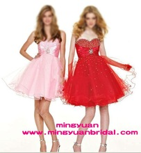Custom made 2011 red beautiful short high quality modern fashion cocktail dress
