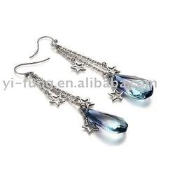 Crystal Star Sterling Silver Sterling Silver Earring Set