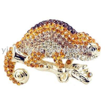 De oro topacio camaleón de reptiles de diamante de imitación austriaco de los animales de cristal broche pines& collar colgante