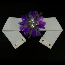Purple Feather Elastic Waist Belts BLT4586