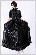 Black fanshion latex rubber long dress