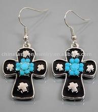 Unique and Elegant Turquoise Enamel Cross Earrings (HSXE0934)