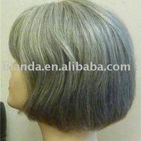 Short style grey ladies wig 100% human hair