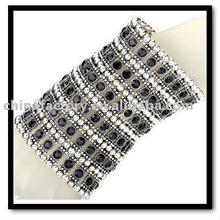 fashion latest 6rows stretch colorful crystal diamond wedding wide men bangle bracelet