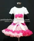 Hot Light Pink Multi-Colored Pettiskirt,WhitePettitopwith Hot Pink Birthday Cupcake Top,Colthing Set ,Skirt,Shirt,TankTopMASC10