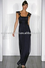 2012 cap sleeves handmade pleated chiffon floor length bridesmaid dress