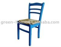 wooden blue rattan cushion dining chair